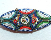 Victorian/Edwardian Era Italian Glass Micro-Mosaic Brooch, Missing Pinstem