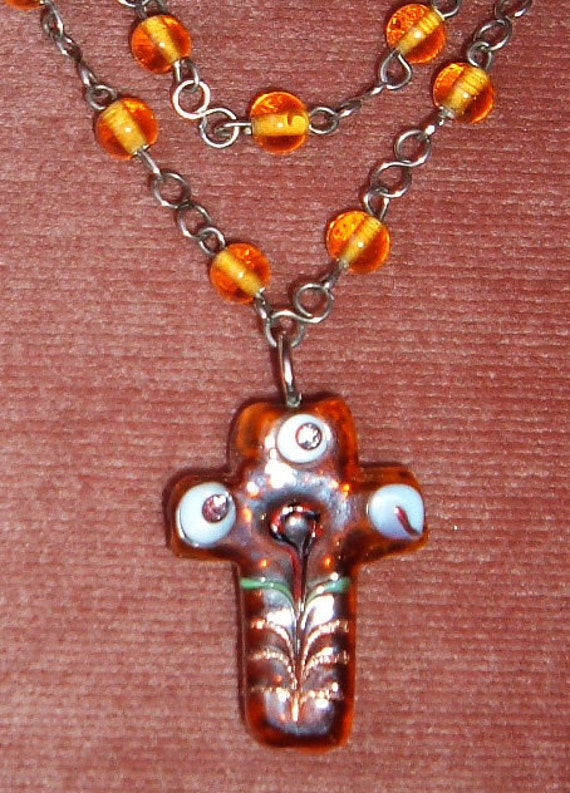 Murano-Type Art Glass Cross on Rosary Bead Type Double Strand Chain, Amber Color