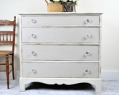 White, Cream, Gray Cottage Chic Dresser with Glass Knobs, Distressed Dresser, Chest of Drawers