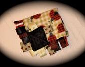 Black Red Lady Bug Baby Minky Tag Blanket - Ribbon Lovey