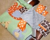 Whale Giraffe Elephant Bird Owl on Green w/ Grey Dot Minky Baby Minky Tag Blanket - Ribbon Taggie Lovey