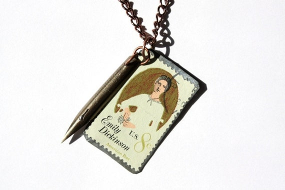Upcycled Vintage Emily Dickinson Stamp and Pen Nib Charm Necklace
