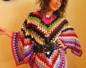 Crochet Wool Poncho, Bright Multi colour, Trans- seasonal, Original