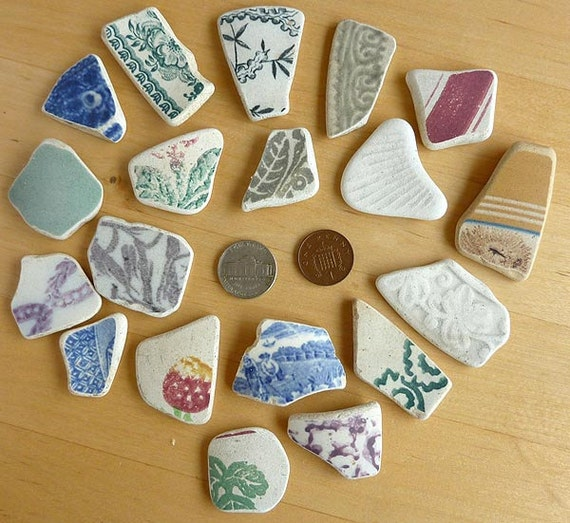 RESERVED FOR JAMIE 19 Sea Tumbled pottery Shards from Beaches in Scotland