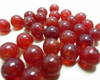 8mm Red Agate Round Beads Half Drilled