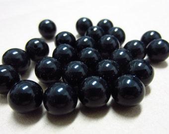 8mm Black Agate Round Beads Half Drilled