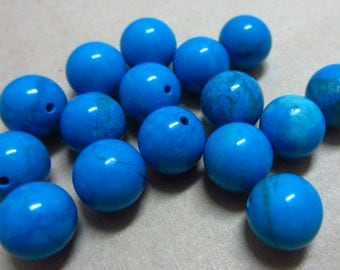 8mm Howlite Dyed Turquoise Round Beads Half Drilled