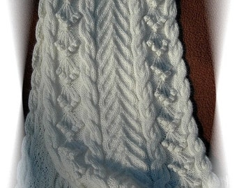 """Scarf for Women """"Bowen Island"""", handknit in pure fine Angora with cables and bobbles"""