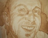 Portraits painted with coffee.