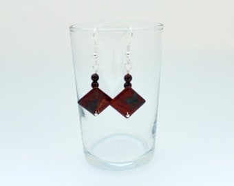 Earrings Brick Red  Jasper Tile
