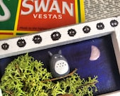 Unique, hand made Totoro in a tree scene in a Swan Vesta match box