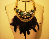 Feather statement necklace, with stone, ABS bead, chain and rope. Purple, Yellow, Turquoise, Gold and Leopard print combo