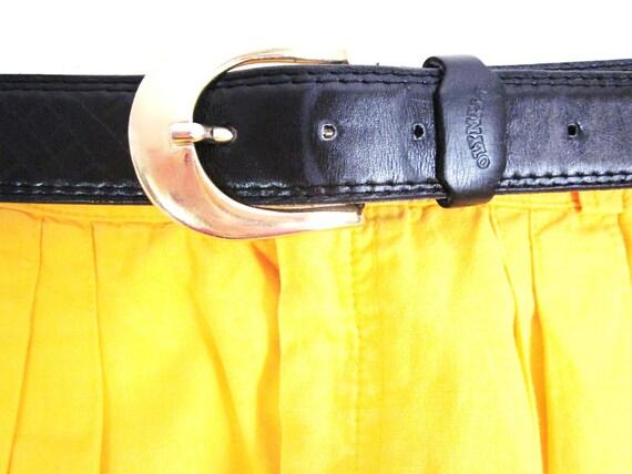 Black Olympia leather Belt -vintage 80-