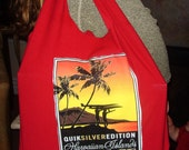 Recycled red t-shirt bag upcycled Quicksilver