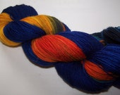 Sunset - Bluefaced Leicester hand painted sock yarn 100g 4ply/Fingering weight BFL- Blue, Orange, Green, Turquoise, Black & Brown