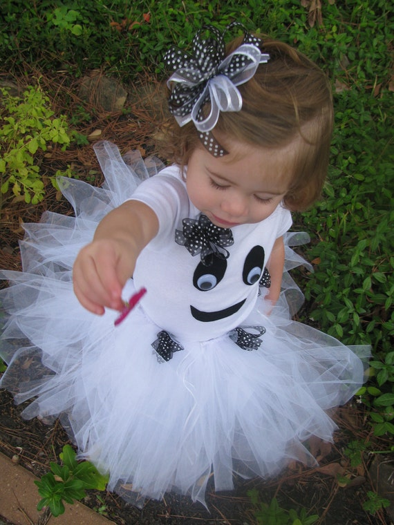 SALE 10% OFF- Toddler Girl Ghost Costume with Tutu and Bow