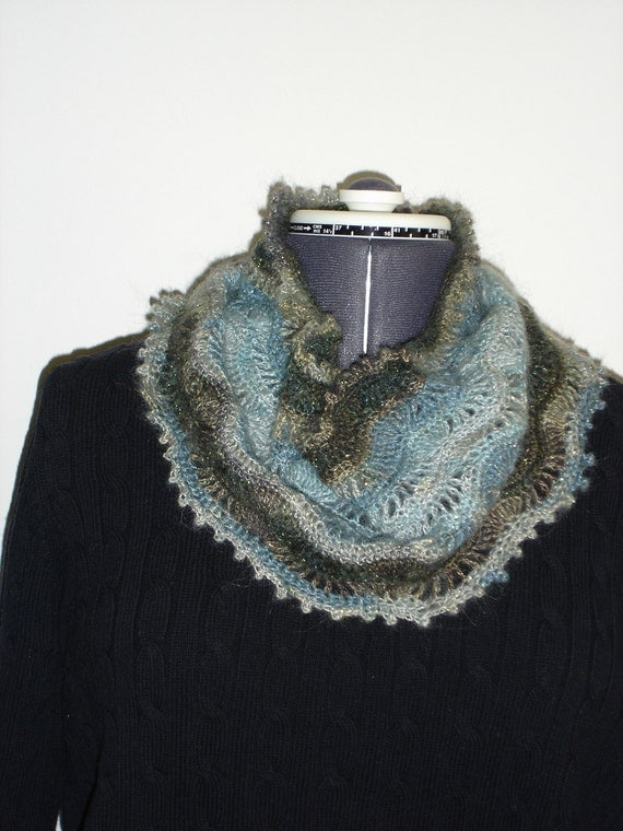 Beautiful Crochet Cowl Scarf.  Winter Waves