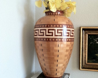 Segmented Greek Key Urn Woodturning