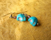 Turquoise Sugar Skull and Purple Czech Fire Polished Glass Bead Earrings