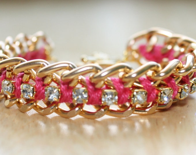 Watermelon Pink Woven Chain and Rhinestone Bracelet