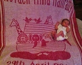 Personalised Noha's Ark Knitted Baby Blanket