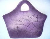 Purple Felted Handbag with Cob Web design 100% Australian Merino Wool