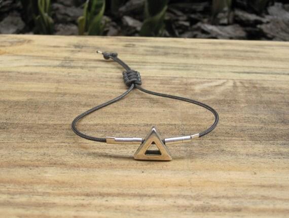 Charcoal Gray Skinny Cord Bracelet w/ Triangle Bead