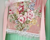 romantic apron vintage ROSES BARKCLOTH handmade NEW by me pink tulle lace shabby chic wow