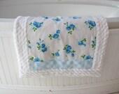 NEW blue roses RUG handmade VINTAGE fabrics pet quilt chenille bath mat bridal shower gift shabby chic