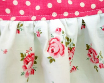 rosey apron NEW made of VINTAGE rose fabrics lace polkadot cottage chic farmhouse OOAK shabby