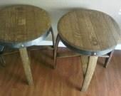 Wine barrel end tables set of 2