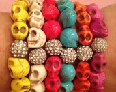 Skull Bracelets with Rhinestone accent