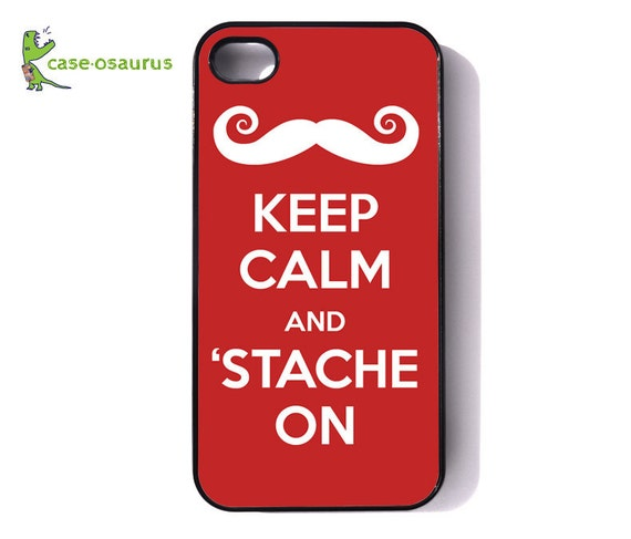 iPhone Case - Keep Calm and 'Stache On for iPhone 6, iPhone 5/5s or iPhone 4/4s, Samsung Galaxy S6, Galaxy S5, Galaxy S4, Galaxy S3