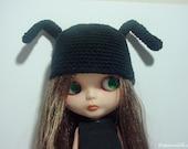 "Organic Cotton ""Bunny Hat"" for Blythe Doll ""Black"""