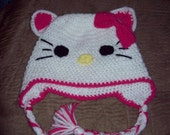 Crochet Hello Kitty Animal Hat or Beanie - Great for Photo Prop - Newborn to Adult sizes available