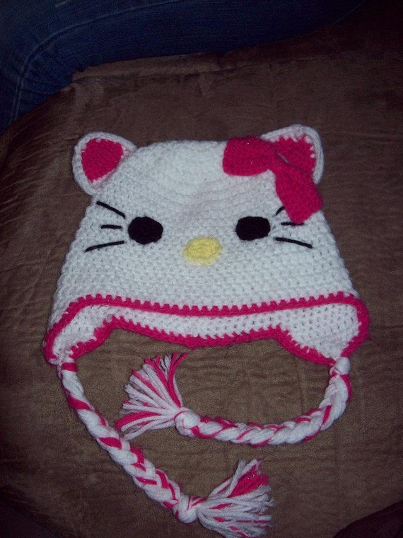 Crochet Hello Kitty Animal Hat or Beanie by CritterCapsByJenn