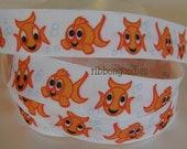 7/8 GOLDFISH Fish Grosgrain Printed Ribbon by the yard for Hair Bow Making supplies  5 YARDS