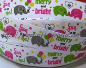 7/8 MTMG Merry Bright Elephant M2MG Gymboree Grosgrain Ribbon 5 Yards Hair Bows supplies printed ribbon by the yard