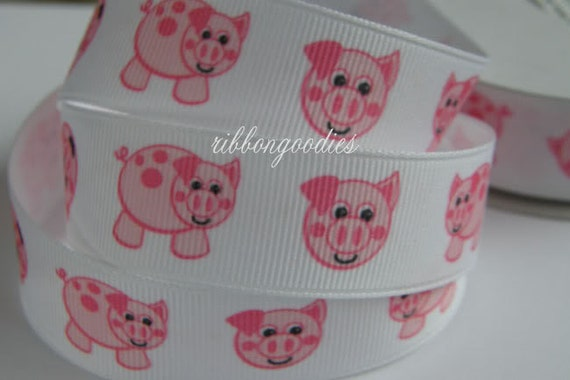 7/8 PINK PIGS Ribbon 5 YARDS Grosgrain Ribbon by the yard for Hair Bow Making supplies