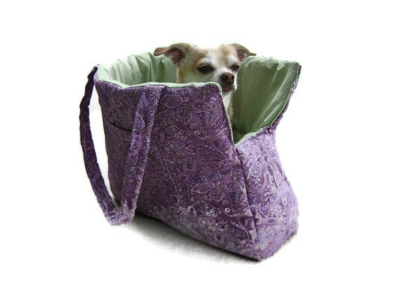 Paisley Purple & Green Pet Travel Purse