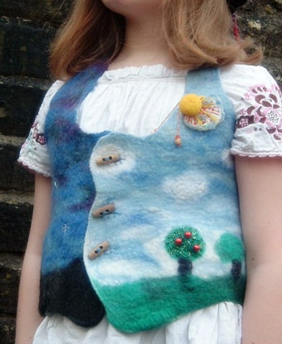 Reserved Girls Halter Neck Night and Day Waistcoat with Sunshine Brooch
