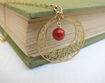 Gold filigree necklace, Red Coral necklace, simple, feminine necklace, bridesmaid gift, wedding jewelry