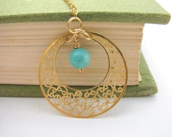 Filigree necklace, Gold necklace, Turquoise necklace, weddings, delicate necklace, bridesmaid necklace, bridal jewelry
