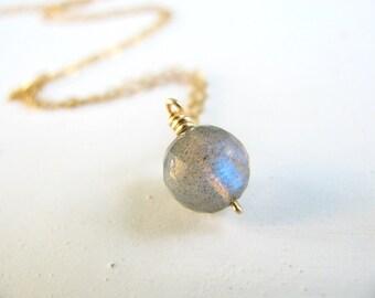 Labradorite necklace, gold necklace, simple necklace gold, delicate necklace, bridesmaid gift, gold filled necklace