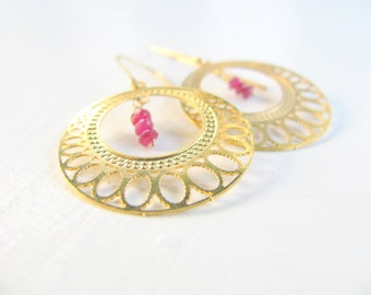Ruby earrings, gold earrings, hoop earrings, large earrings, boho chic jewelry, modern jewelry, bridal earrings, weddings, circle earrings