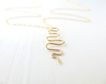 Snake necklace, gold necklace, simple gold necklace, snake pendant, everyday jewelry, everyday necklace, gold filled chain