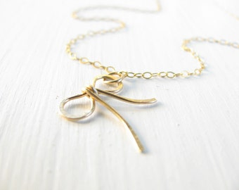 Bow necklace, gold necklace, bridesmaid necklace, charm necklce, delicate necklace, bow charm necklace, By Matok