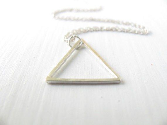 Triangle necklace, Geometric necklace, sterling silver necklace, modern jewelry, contemporary, simple necklace, geometric jewelry