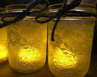 Mason Jar Lace Candle Holder - Vase - Favor - Wedding centerpiece (set of 5) half pint size