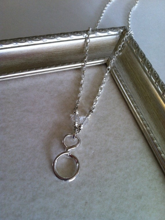 Infinity Charm Necklace - Crystal Beads - Holiday Jewelry